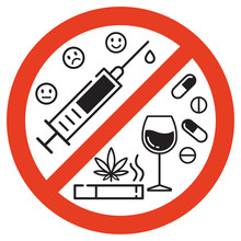 Sign Forbidden Drugs In Red Crossed Out Circle On White Background. No Smoking, No Drugs And No Alcohol. Isolated Vector Illustration.