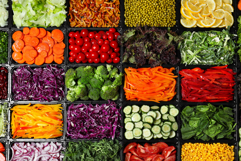 Fototapety, obrazy: Salad bar with different fresh ingredients as background, top view