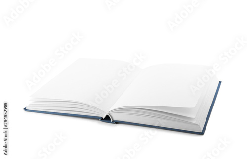 Fotografija Open hardcover book with blank pages on white background