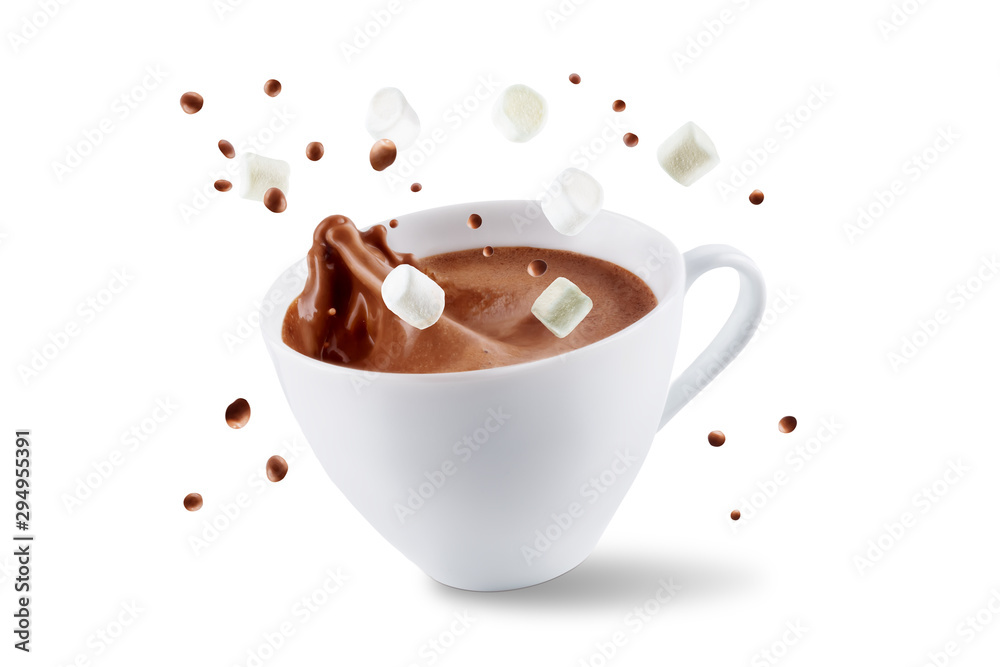 Fototapety, obrazy: Dark hot chocolate drink on a white isolated background