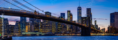 Photo Stands New York New York City Skyline Sunset Freedom Tower