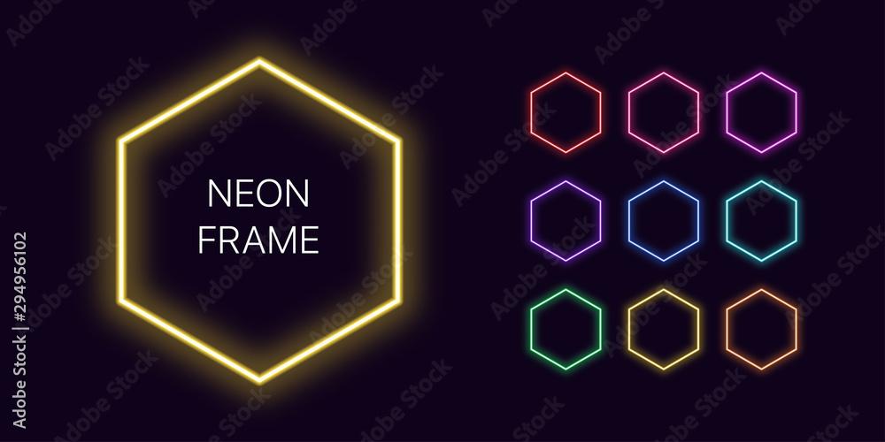 Fototapety, obrazy: Neon monochrome hexagon Border with copy space. Templates set