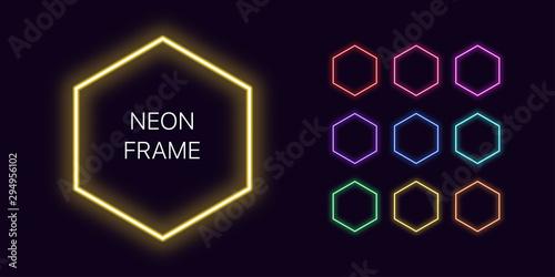 Pinturas sobre lienzo  Neon monochrome hexagon Border with copy space. Templates set