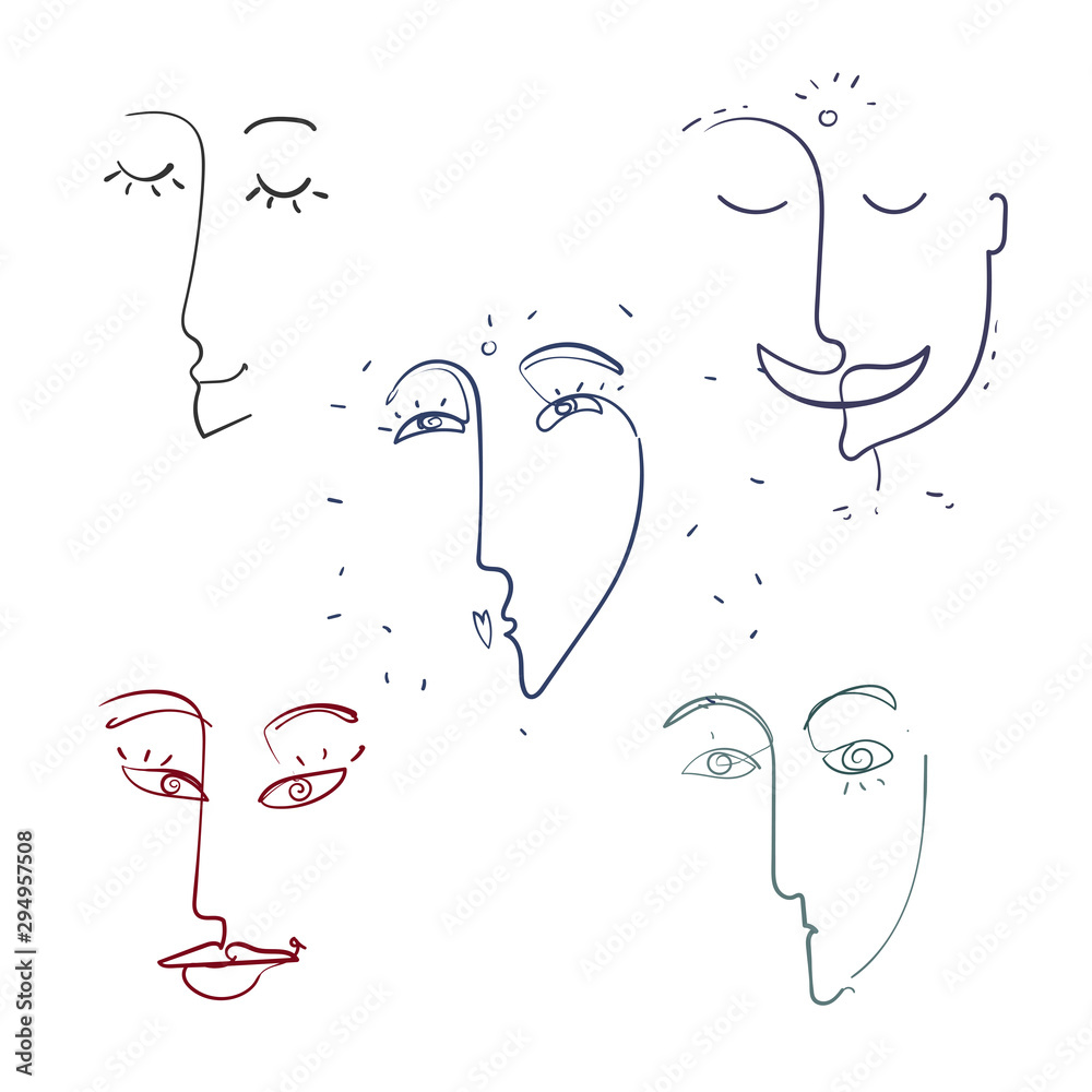 Continuous line, drawing of set faces , fashion concept, woman beauty minimalist, vector illustration for t-shirt, slogan design print graphics style