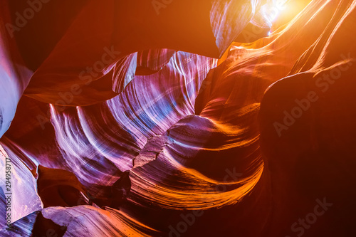 Foto auf Gartenposter Violett rot Antelope Canyon in the Navajo Reservation near Page, Arizona USA