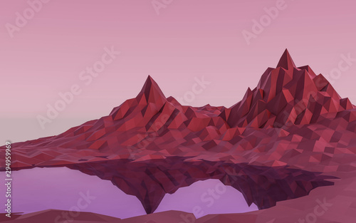 red low poly mountain landscape with lake 3d render illustration