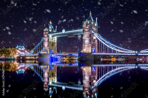 Recess Fitting London Tower Bridge in London by night ,during a snowstorm