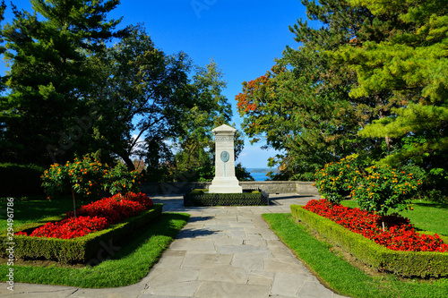 View of gardens and War of 1812 monument to Laura Secord in Queenston Heights, O Canvas Print