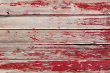 Rustic Old Weathered Wood Background Of Planks With Peeling Red Paint