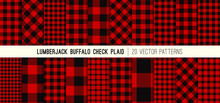 Lumberjack Red And Black Buffalo Check Plaid Vector Patterns. Rustic Christmas Backgrounds. Pack Of 20 Hipster Flannel Shirt Fabric Textures Of Different Styles. Repeating Pattern Tile Swatches Incl