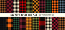 Fall Colors Buffalo Check Plaid Vector Patterns. Autumn Winter Fashion Color Trends. Hipster Lumberjack Flannel Shirt Fabric Textures. Repeating Pattern Tile Swatches Included.