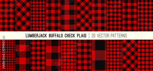 Obraz Lumberjack Red and Black Buffalo Check Plaid Vector Patterns. Rustic Christmas Backgrounds. Pack of 20 Hipster Flannel Shirt Fabric Textures of Different Styles. Repeating Pattern Tile Swatches Incl - fototapety do salonu