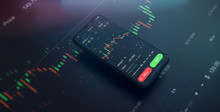 Futuristic Stock Exchange Scene With Mobile Phone, Chart, Numbers And SELL And BUY Options (3D Illustration)