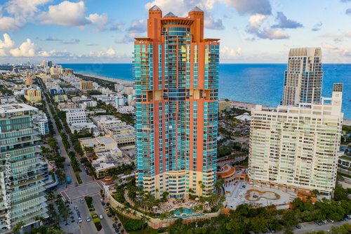 Aerial photo pink Portofino Tower Miami Beach iconic architecture adjacent to So Wallpaper Mural