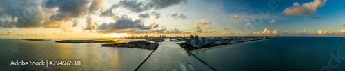 Fototapeta Aerial drone panorama Miami Beach inlet sunset twilight shot