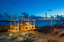 Port Miami Loading MSC Cargo Ship At Night Shot With Aerial Drone