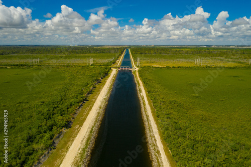 Fotografija Aerial photo Homestead water canal to Biscayne Bay over the Everglades