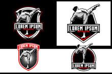 Kickboxing Or Karate Athlete Martial Arts Or Self Defense Vector Logo Template