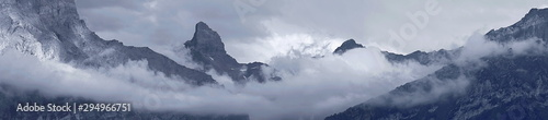 Garden Poster Alps Mountain Peak And Clouds