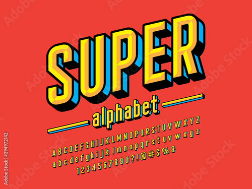 Fototapeta Superhero comic style vector font with uppercase, lowercase, numbers and symbols obraz