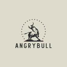 Bull Hipster Logo Silhouette