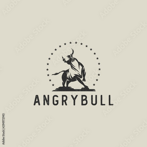 Tableau sur Toile Bull hipster logo silhouette