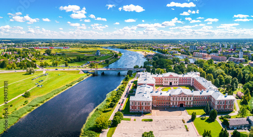 Keuken foto achterwand Oude gebouw Panoramic view over city Jelgava, Lielupe river and ''Latvia University of Agriculture'' during sunny summer day.