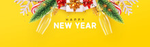 Happy New Year Banner, Glasses Champagne With Gifts Box, Pine Green, Bright Snowflakes, Xmas Lights Garland. Horizontal Poster, Greeting Card, Headers, Website. Objects Viewed From Above. Top View