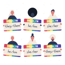 A Group Of Young Diverse Characters Holding The Rainbow Badges With Their Gender Pronouns - She, He, They