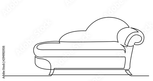 Slika na platnu continuous line drawing of comfortable lounge chaise