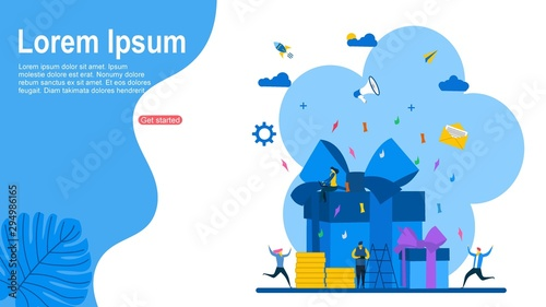 Cuadros en Lienzo  online reward , Group of people receive a gift box vector illustration concept