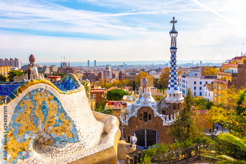 Fototapeta Panoramic view of Park Guell in Barcelona, Catalunya Spain.