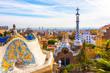 Leinwanddruck Bild - Panoramic view of Park Guell in Barcelona, Catalunya Spain.