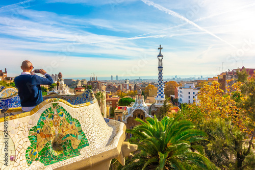 Barcelona, Catalunya ,Spain - Dicember 01, 2018: Park Guell by architect Gaudi. Parc Guell is the most important park in Barcelona.
