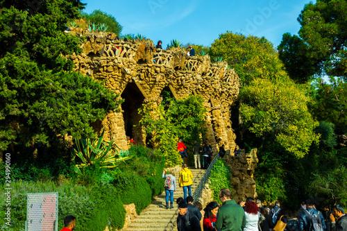 Fényképezés Barcelona, Catalunya ,Spain - Dicember 01, 2018: Park Guell by architect Gaudi