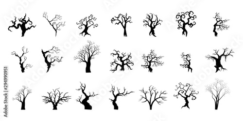 Silhouettes of trees collection Halloween concept. Wallpaper Mural