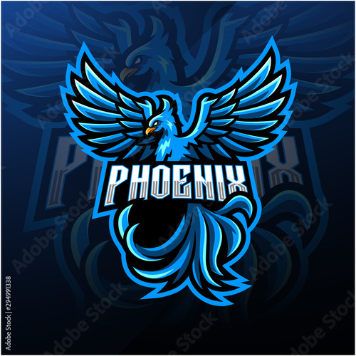 Fotografie, Tablou Blue phoenix esport mascot logo design