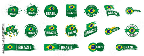 Brazil flag, vector illustration on a white background Canvas Print