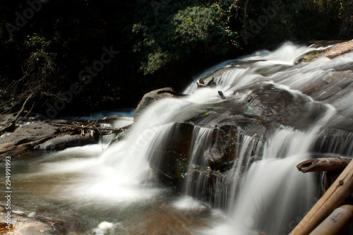 waterfall in the deep jungle of Thailand