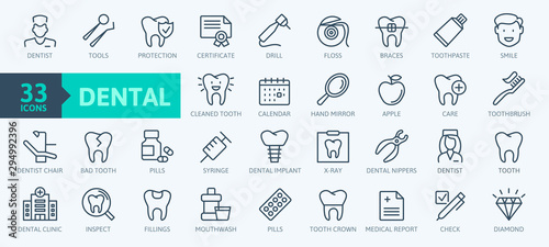 Dental clinic elements - thin line web icon set Canvas Print