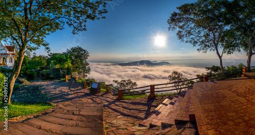 Foto auf AluDibond Braun Clouds and fog above mountain, beautiful morning sunshine landscape at Pha Mo i Daeng Phra Wihan National Park. Sisaket province,Thailand,ASIA.