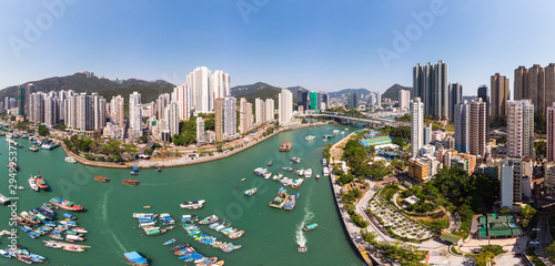 Aerial panorama of the crowded Aberdeen and Ap Leu Chau island in Hong Kong and Wallpaper Mural