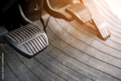 Foot pedals are levers of forklift car that are activated by the driver's feet to control certain aspects of the vehicle's operation brake pedal Car accelerator  controls Fototapet