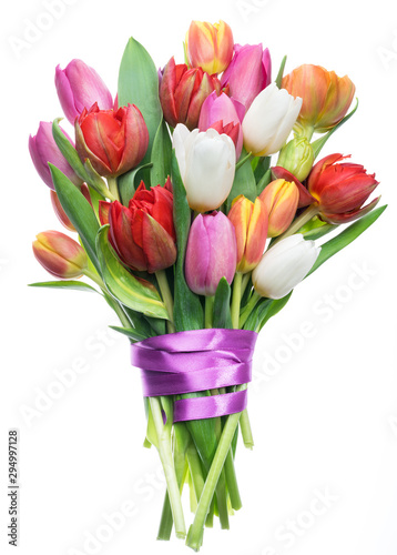 Fotografija Colorful bouquet of tulips on white background.