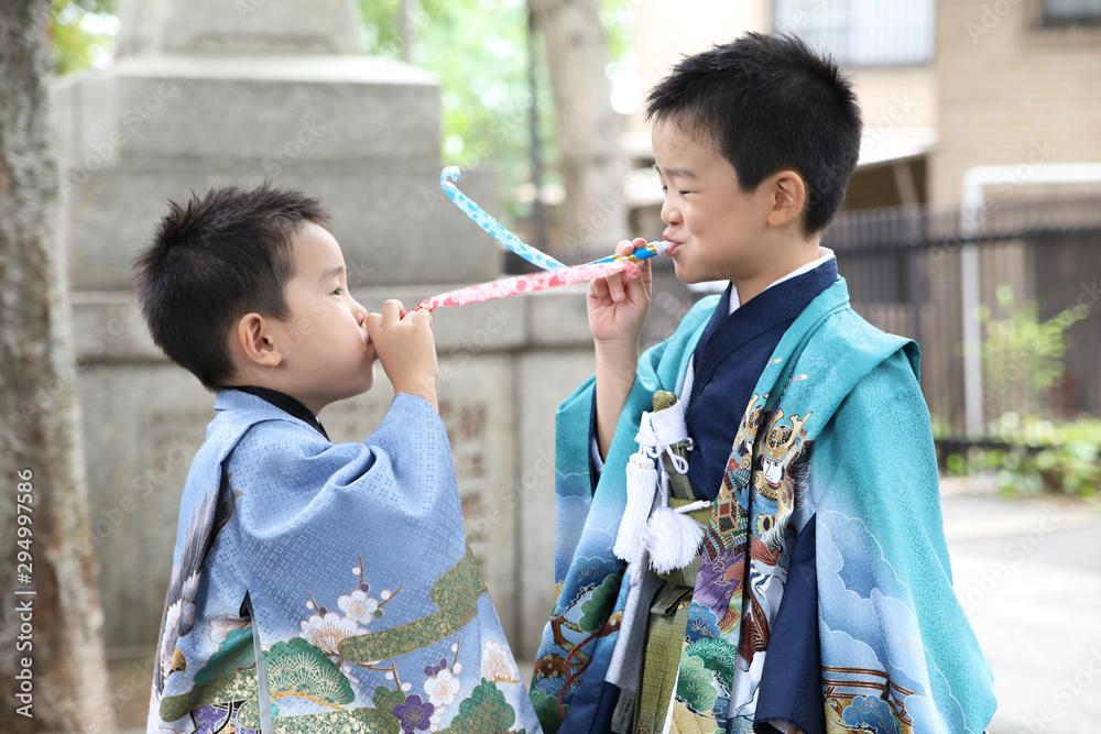 Fototapety, obrazy: 日本の七五三お詣り・男の子_07