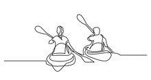 Continuous Line Drawing Of Man And Woman Kayaking On Beautiful Lake Waters
