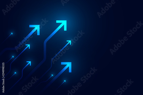 Cuadros en Lienzo Light arrow circuit on blue background illustration, copy space composition, business growth concept