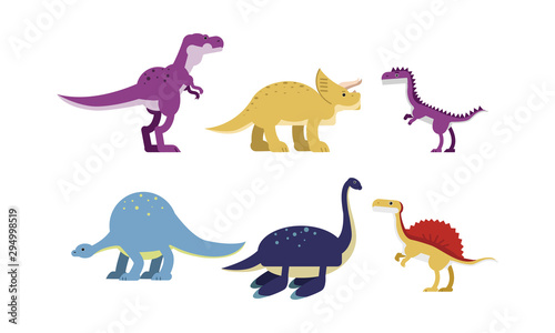 Photo Ancient Big Dinosaurus Of Different Kind And Color Vector Illustrations Set Cart