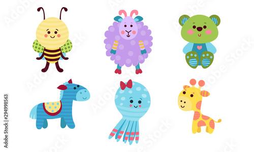 Various Babies Animals Cartoon Characters Colorful Vector Illustration Set #294998563