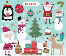 Cute Christmas Character, Santa Clause, Snowman, Penguin, Robin And Christmas Ornament Decoration, Vector Illustration